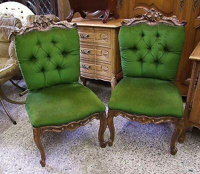 Pair Of Louis Xv Style Vintage French Carved Walnut Bedroom Chairs - (00908)