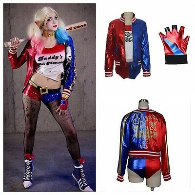 Cosplay T-shirt Veste Culotte Gant Harley Quinn Suicide Squad Costume Halloween