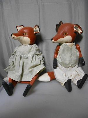 "Vintage pair of 20 ½"" handmade decorative collectible lady and sir foxes"