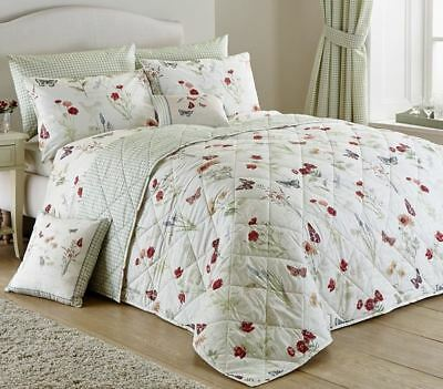 COUNTRY JOURNAL VINTAGE FLORAL REVERSIBLE BEDSPREAD CREAM GREEN 229cm x 195cm