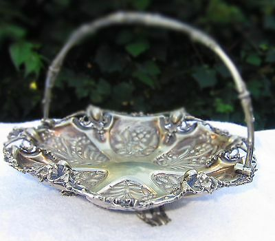Fabulous Vintage Victorian Heavy Silver Plate Oyster Plate Hallmarks With Handle