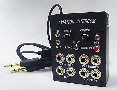 4 User Aviation Pilots Aircraft Intercom (Calls/Music) with PTT Button