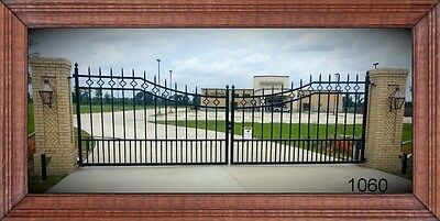 Driveway Entry Gate 14 Ft Wide Dual Swing Commercial - Residential Home Security
