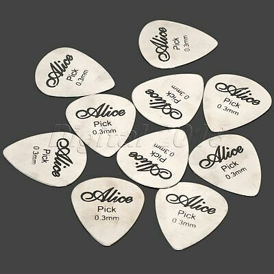 10X Sliver Stainless Steel Acoustic Electric Guitar Picks Heavy 0.3mm  Plectrums