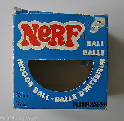 vintage NERF OFFICIAL INDOOR BALL - BOX ONLY - 1980s Parker Brothers