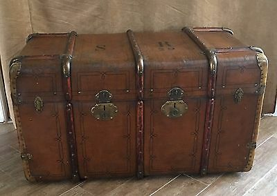 Antique wooden large Steamer Trunk metal Chest coffee table steampunk vintage