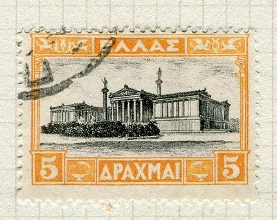 GREECE;  1927 early Acropolis issue fine used 5d. value,