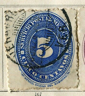 MEXICO;  1886 early classic issue fine used 5c. value