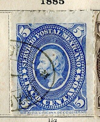 MEXICO;  1885 early classic issue fine used 5c. value