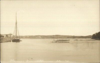Machias ME Boats on River c1910 Real Photo Postcard