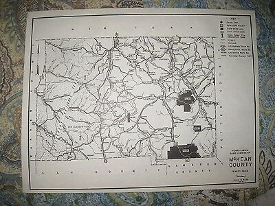 ANTIQUE 1961 McKEAN COUNTY PENNSYLVANIA HUNTING FISHING MAP SMETHPORT HIGHWAY NR