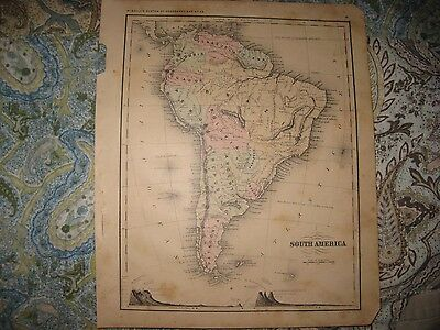 Antique 1869 South America Handcolored Map Brazil Patagonia Argentina Mountains