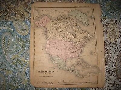 Antique 1869 North America Handcolored Map United States British Canada Alaska N
