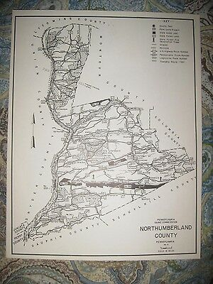 Antique 1961 Northumberland County Pennsylvania Hunting Fishing Map Highway Rare