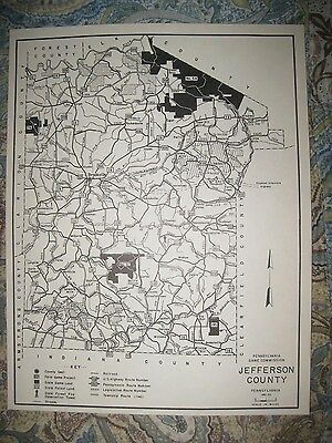 Antique '62 Jefferson County Brookville Pennsylvania Hunting Fishing Map Highway