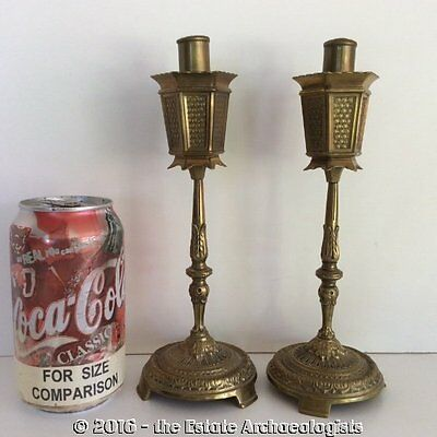 ~DUTCH AUCTION~ Pair of RARE c1912 Bronze 'Street Lamp' Cigarette LIGHTERS