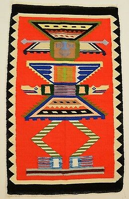 VINTAGE NAVAJO or MEXICAN woven tapestry rug wall hanging lume hand made art