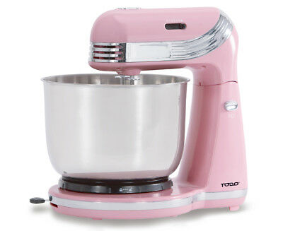 250W 6 SPEED ELECTRIC STAND MIXER w/ STAINLESS STEEL BOWL RETRO PINK XJ-13406