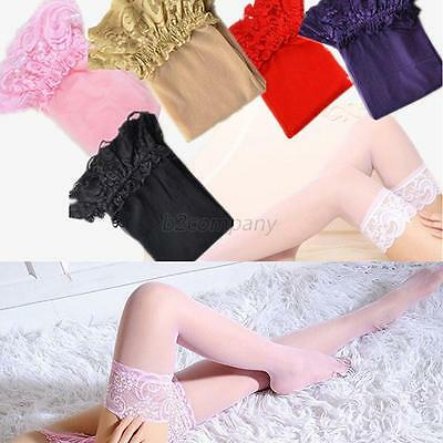 Sexy Women Sheer Lace Top Stay Up Thigh High Silk Hold-ups Stockings Pantyhose