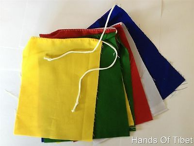 Handmade Tibetan Blank Prayer Flags Set Of 10 Flags Set (Put Your Own Prayers)