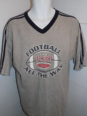 The Ticket Sports Radio 1310 Football All the Way Ringer T Shirt Size Large Gray