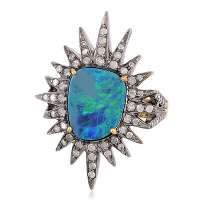 925 Sterling Silver Australian Opal Pave Diamond Starburst Ring 18k Gold Jewelry
