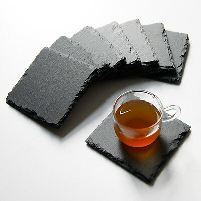 4pcs/8pcs Natural Slate Square Coaster Placemat Plate Serving Runner Tray