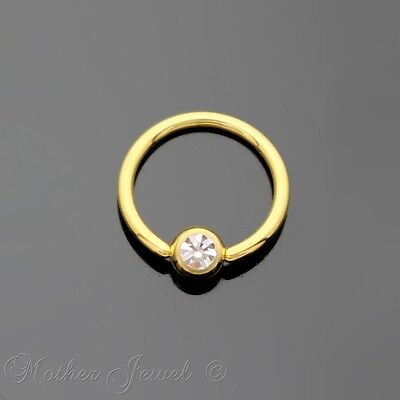 14K Yellow Gold Ip 4Mm Cz Ball Cbr Bcr 16G 10Mm Ear Nose Lip Septum Captive Ring