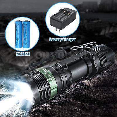 NEW 6000lm T6 LED Zoomable lampe Poche Torche Tactique Chargeur FREE 18650