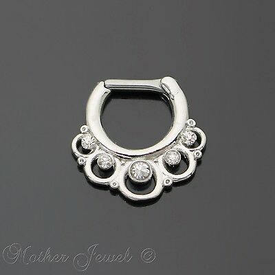 Gorgeous 14G Silver Surgical Steel Round Loop Nose Piercing Septum Ring 14 Gauge