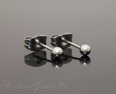 Silver Surgical Steel Round 3Mm Plain Ball Mens Womens Unisex Stud Earrings