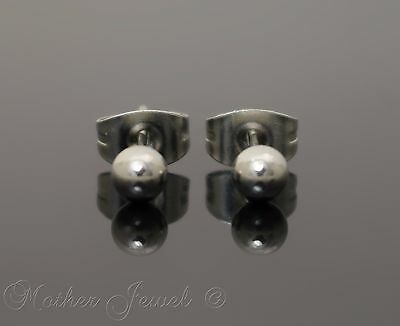 Silver Surgical Steel Round 4Mm Plain Ball Mens Womens Unisex Stud Earrings