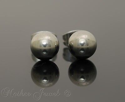 Silver Surgical Steel Round 7Mm Plain Ball Mens Womens Unisex Stud Earrings