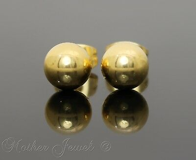 Yellow Gold Surgical Steel Round 7Mm Plain Ball Mens Womens Unisex Stud Earrings