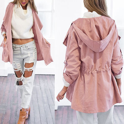 Women Warm Hooded Long Coat Jacket Trench Windbreaker Parka Outwear Pullover