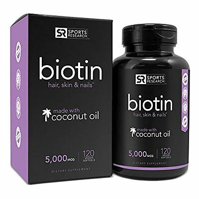 Biotin Enhanced with Coconut Oil for Hair Skin 120 Softgels by Sports Research