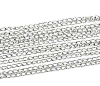 6M Silver Tone Curb Chain - Link Size 5.5 x 3.5mm Jewellery Making J13009