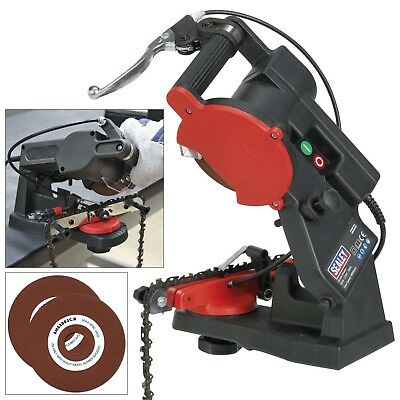 Sealey Electric Chainsaw Chain Saw Blade Sharpener + Free Grinding Wheel Disc!