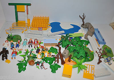 PLAYMOBIL ZOO large lot of Parts, Figures & Accessories . Gorilla , trees