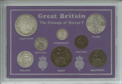 1911-1920 King George V (First Type) Great Britain Coin Gift Set in Display Case