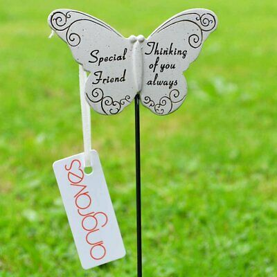 Thinking of Special Friend Butterfly Memorial Tribute Stick Graveside Plaque