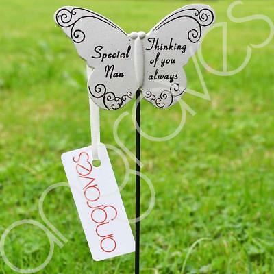 Thinking of Special Nan Butterfly Memorial Tribute Stick Graveside Plaque