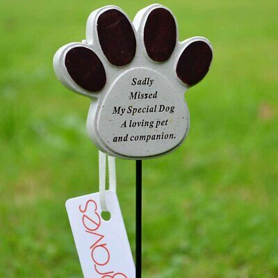 Special Dog Paw Print Memorial Pet Memory Tribute Stick Graveside Plaque