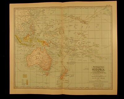 Oceanica Australia Philippines New Zealand 1911 detailed vintage old color map
