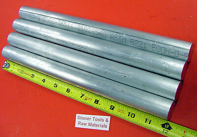 "4 Pieces 1"" ALUMINUM 6061 ROUND ROD 12"" long SOLID BAR 1.00"" OD New Lathe Stock"