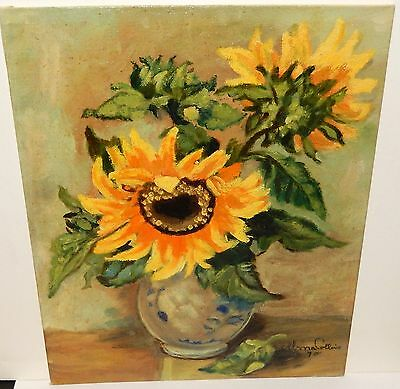 Alma Collins Vintage Floral Vase Oil On Board Painting Dated 1970