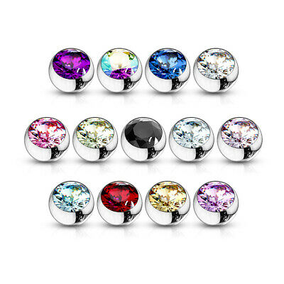10 Pcs 10 Colors Threaded Surgical Stainless Steel Press Fit CZ Gem Balls 14G