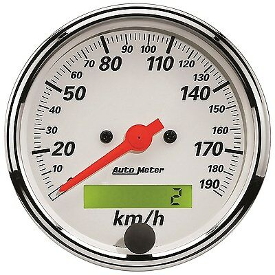 "Autometer Speedo Arctic White 3.1/8"" 190 Kph Electric Programmable - Au1388-M"