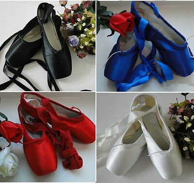 NWT Women Professional Dance Ballet Pointe Shoes Toe Satin Ribbon Ties 5 Colors