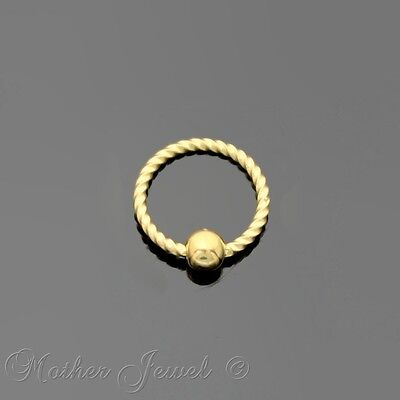 20G 6Mm 14K Yellow Gold Plated Cbr Bcr Ear Nose Lip Septum Helix Captive Ring